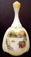 Fenton Glass Ivory Oval Bell Bear & Mountains 2 Family Signatures  QVC Exclusive