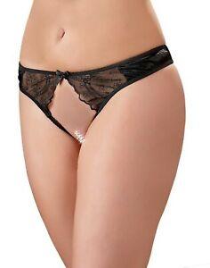 Cottelli Collection Basic String Ouvert, Black, Large, 80 Gram