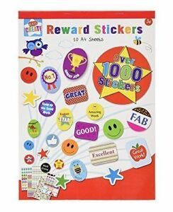 1000 Children's Reward Stickers Chart Motivation Kids Teacher School Well Done.