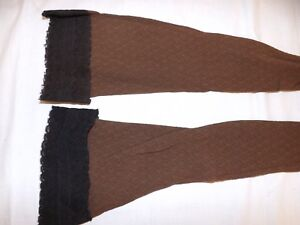 Sweet & Sassy Vtg 1960s NEW Brown Lace Textured Nylon Over The Knee Stockings S