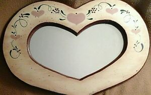 "Hand Painted Heart Mirror. Mirror 15 1/2"" X 10 1/2"""