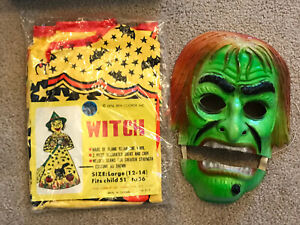 ben cooper chatter mouth costume witch mask 1974 vtg Halloween sealed 1866