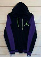 Men's JORDAN NIKE AIR Varsity Hooded Jacket Hoodie Black Purple Medium M Med
