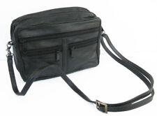 Black Leather Mens Bag Passport  Messenger Organizer Travel Pouch Phone Bag