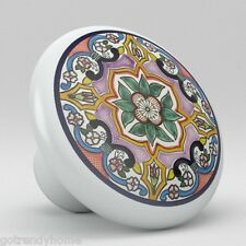 Round Talavera Design Ceramic Knobs Pulls Kitchen Drawer Cabinet Dresser 1204
