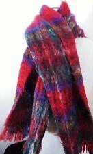 Vintage Royal Stewart Scotland Mohair Wool Red Tartan Plaid Scarf Unisex