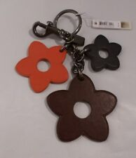 NWT COACH Leather Flower Mix Key Chain Ring Bag Charm 59865 RED MULTI