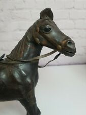 "Vintage Leather Wrapped Brown Horse Figure Sculpture Statue 11"" tall with Saddle"
