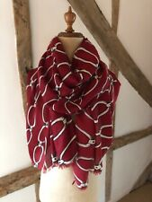 Scarf/Wrap in Red And Stone with Chain Link Design.