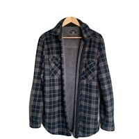Freedom Foundry Sherpa Lined Fleece Blue Gray Plaid Button Up Men's Size L