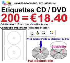 200 Etiquettes pour CD DVD autocollante pour imprimante jet d'encre  laser l7676