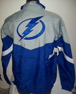 TAMPA BAY LIGHTNING Starter Jacket Nylon BLUE & GRAY Sewn Logos S M L XL