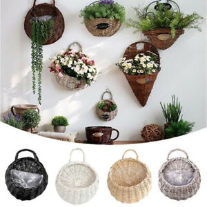 Wall Hanging Planter Plant Flower Pot Handmade Wicker Rattan Basket Home De wy
