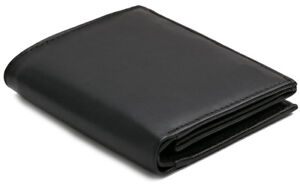 Mens RFID Blocking Soft Leather Wallet, ID Window, Zip And Coin Purse 503 Black