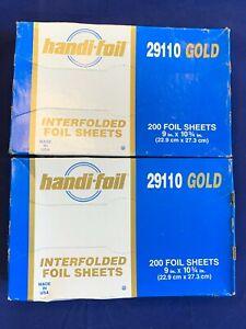 """2 X 200 Handi-Foil 9""""x10.75"""" GOLD Aluminum Foil Premium Quality Pop-Up Sheets"""