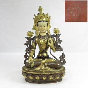D0826: Tibetan biggish Buddhist statue of copper ware with wonderful great work