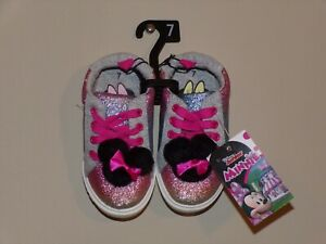 NEW TODDLER GIRL'S DISNEY MINNIE MOUSE CASUAL RAINBOW POM POM SNEAKERS