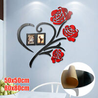 Removable Wall Sticker 3D Rose Flower Art Mural Decal Living Room Home DIY Decor