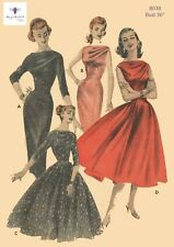 Vintage 1950's Sewing Pattern Starlet Rockabilly Draped Bodice Dress Bust 36""