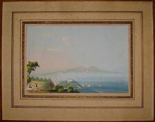 Gouache antica Napoli da Camaldoli anonimo tempera italy italia naples 1850