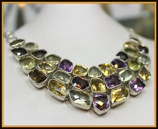 430 TCW Natural Citrine,Amethyst,Smoky & Lemon Quartz Necklace Estate Vintage