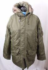 Abercrombie and Fitch AF4470 Faux Fur Hooded Zip Button Parka Coat Men's M
