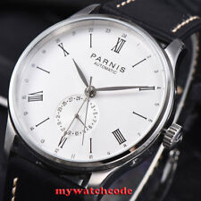 42mm Parnis white date 24 Hours Handset Seagull Automatic Movement Men Watch 951