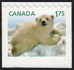 POLAR BEAR CUB =  Baby Wildlife = Canada 2011 #2432 MNH Stamp CUT from booklet