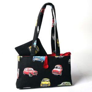Hergest Cotton Black Zip Up Handbag And Purse Combo With Classic Mini Design