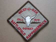 West-O-Ree Fall 1972 Battlefield BSA Woven Cloth Patch Badge Boy Scouts Scouting