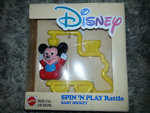 MICKEY MOUSE Mattel BABY SPIN 'N PLAY RATTLE Vintage Toy 1988 DISNEY Newborn NEW
