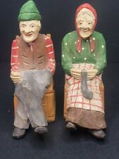 Andre Bourgault Quebec Folk Art Rocking Chair Man Woman Wood Carvings Set