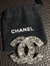 Only1 New CHANEL Large CC Logo Strass Pave Swarovski Crystals Silver Pin Brooch