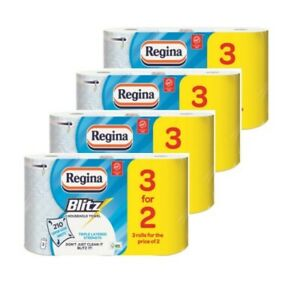 12 Rolls Regina Blitz 3 Ply Kitchen Towel Rolls 70 sheets per roll lint free