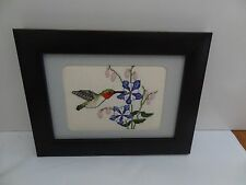 Finished Cross stitch picture of Red Throat Hummingbird in black frame
