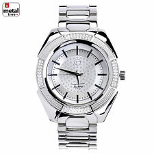 Hip Hop  Fashion Silver Plated Stainless Steel Metal Mesh Band Watches WM 8362 S