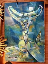 """tableau Huile sur bois représentantt christ sur croix signé """"GROSJEAN"""""""