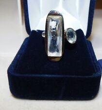 Smart Authentic SWAROVSKI Swan Aqua Crystal Stainless Steel size 5.5 Ring  5c 12