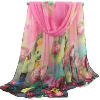 Womens Long Chiffon Flowers Floral Scarf Head Wrap Shawl Stole Scarves 47x152cm