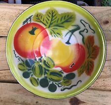 "Vintage Tomato? Fruits Enamel/Granite Ware 12 5/8"" Bowl Basin Lime Poppy White"