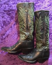 "RARE VINTAGE 17 1/2"" TALL Handmade Cowboy Boots Men's 7.5 Ladies 9.5"