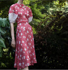 Vintage 1930s Feedsack Gauze Linen Cotton Foliage Printed Dress 2