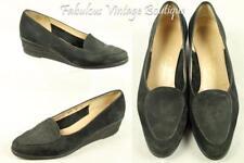SALVATORE FERRAGAMO Italy Black Suede Leather Wedge Heel Casual Shoes 8 B