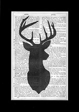 Stag Head Print Vintage Dictionary Page Wall Art Picture Deer Upcycled RARE