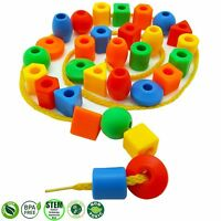 30 Jumbo Toddler Lacing  Stringing Beads with String  Tote by Skoolzy -