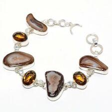 """Fashion Jewelry Bracelet 7-8"""" Sb2895 Botswana Agate Druzy, Smoky Topaz Ethnic"""