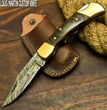 LOUIS MARTIN RARE CUSTOM HANDMADE DAMASCUS ART HUNTING FOLDING KNIFE BACK LOCK