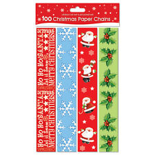 Christmas 100 Assorted Paper Chains Strips Party Decoration Frozen Art Craft Fun