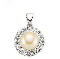 Pearl Pendant Solid Sterling Silver and Cubic Zirconia
