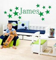 Name Personalised Wall Stickers Boys Bedroom Art Decal 3 SIZES Children Kids